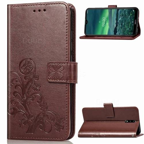 Embossing Imprint Four-Leaf Clover Leather Wallet Case for Nokia 2.3 - Brown