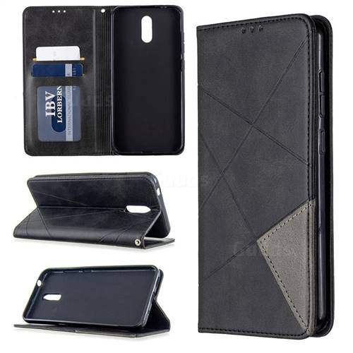 Prismatic Slim Magnetic Sucking Stitching Wallet Flip Cover for Nokia 2.3 - Black