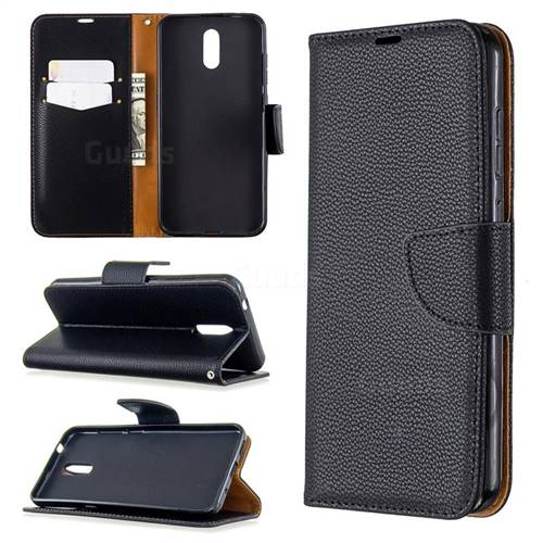 Classic Luxury Litchi Leather Phone Wallet Case for Nokia 2.3 - Black