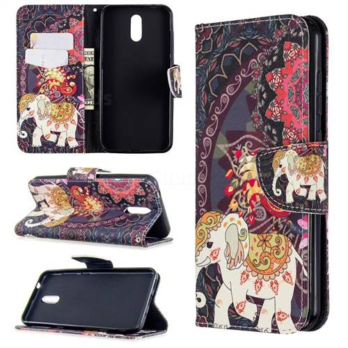 Totem Flower Elephant Leather Wallet Case for Nokia 2.3