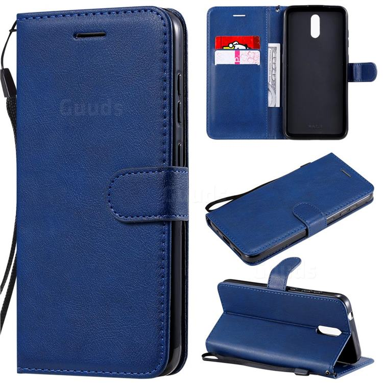 Retro Greek Classic Smooth PU Leather Wallet Phone Case for Nokia 2.3 - Blue