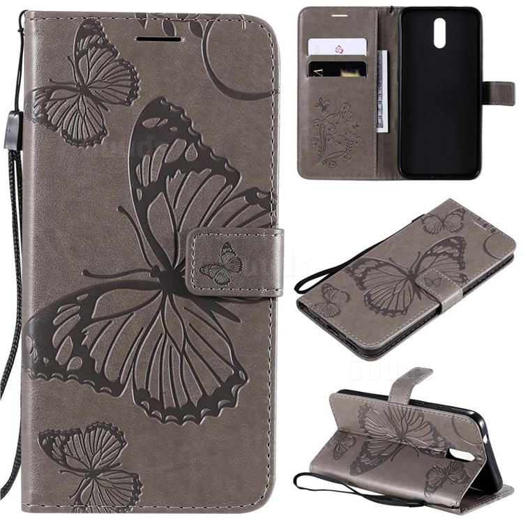 Embossing 3D Butterfly Leather Wallet Case for Nokia 2.3 - Gray