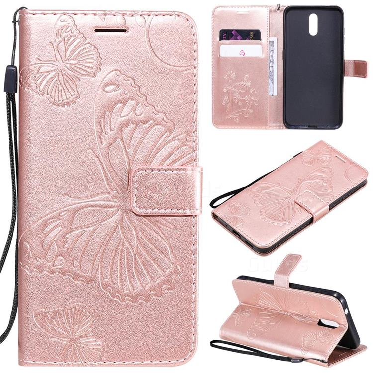 Embossing 3D Butterfly Leather Wallet Case for Nokia 2.3 - Rose Gold