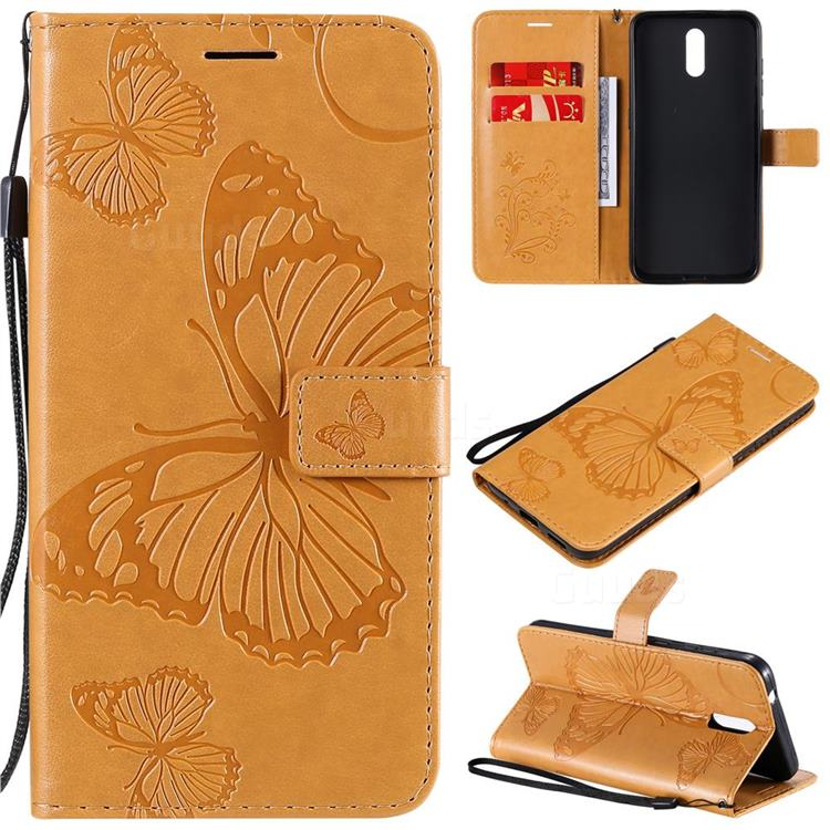 Embossing 3D Butterfly Leather Wallet Case for Nokia 2.3 - Yellow