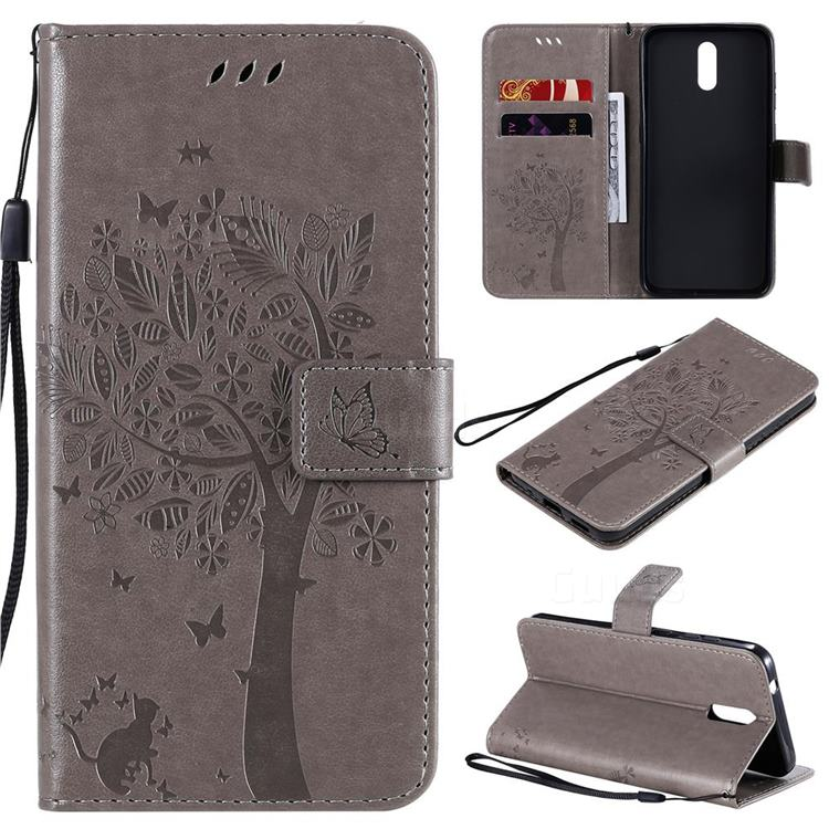 Embossing Butterfly Tree Leather Wallet Case for Nokia 2.3 - Grey