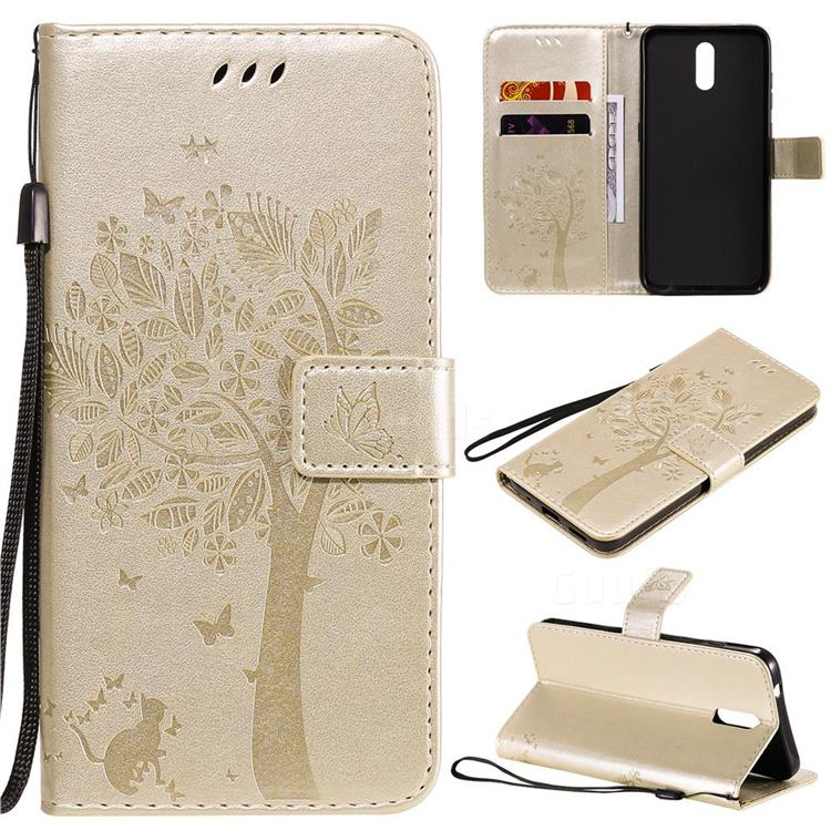 Embossing Butterfly Tree Leather Wallet Case for Nokia 2.3 - Champagne