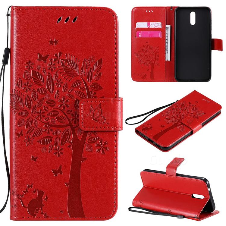 Embossing Butterfly Tree Leather Wallet Case for Nokia 2.3 - Red