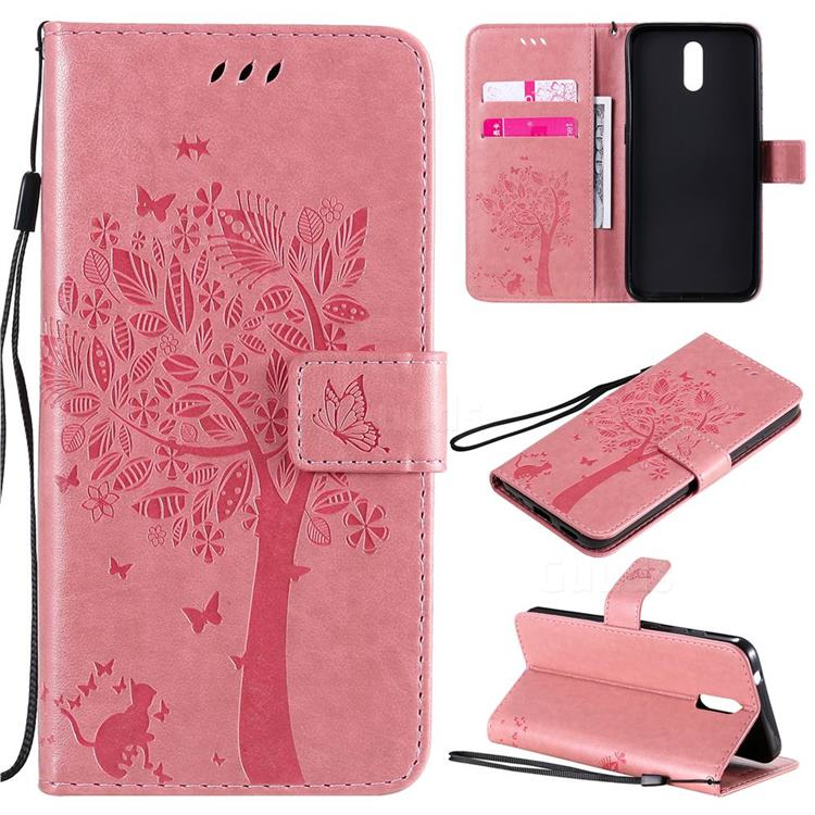 Embossing Butterfly Tree Leather Wallet Case for Nokia 2.3 - Pink