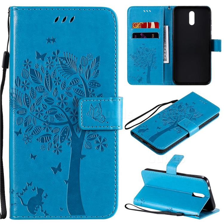 Embossing Butterfly Tree Leather Wallet Case for Nokia 2.3 - Blue