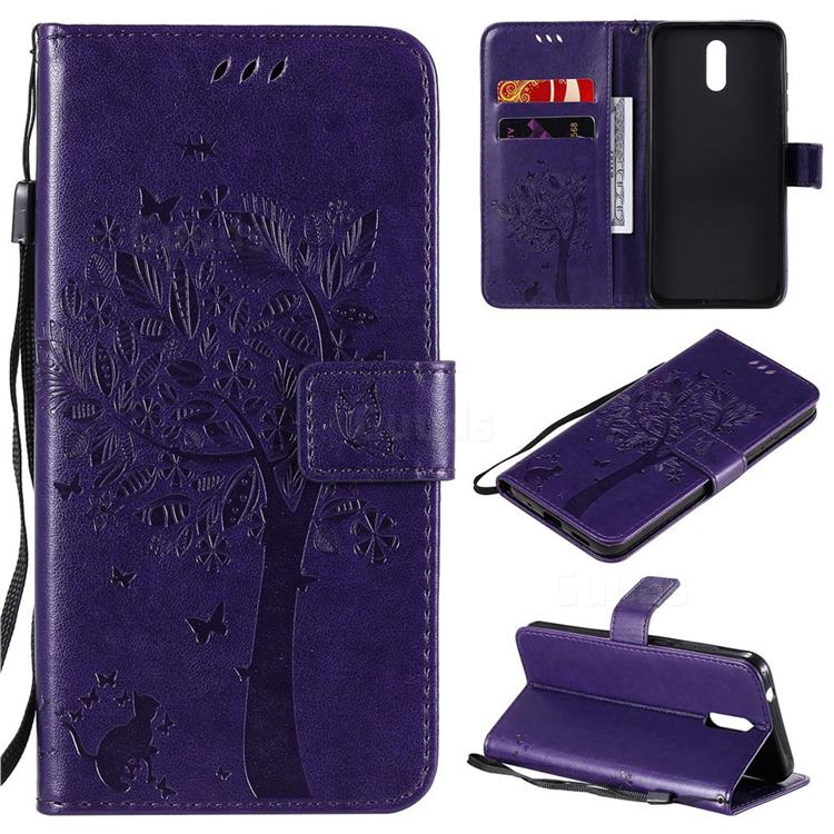 Embossing Butterfly Tree Leather Wallet Case for Nokia 2.3 - Purple