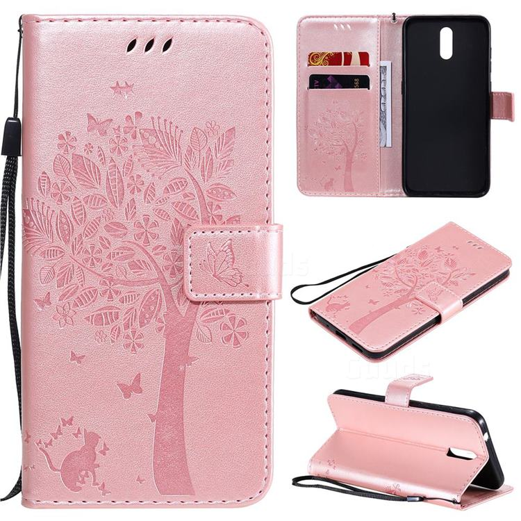 Embossing Butterfly Tree Leather Wallet Case for Nokia 2.3 - Rose Pink