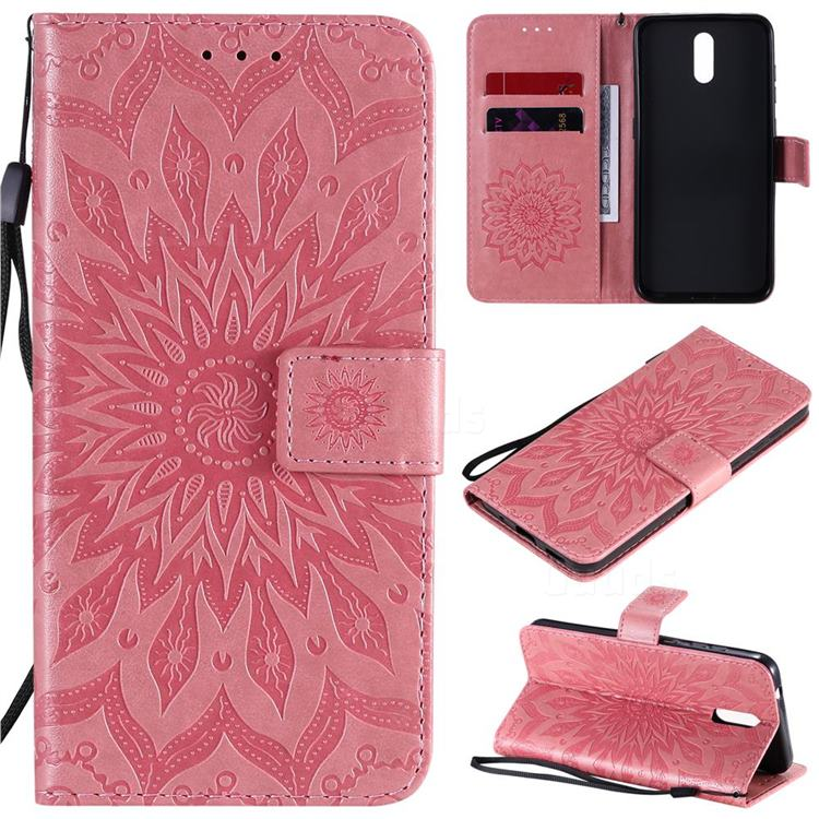 Embossing Sunflower Leather Wallet Case for Nokia 2.3 - Pink