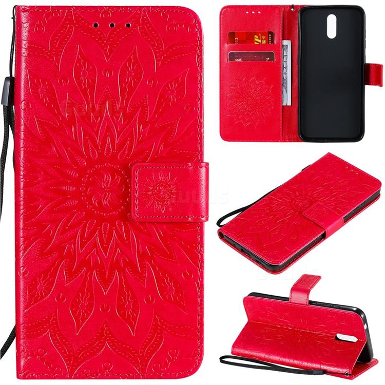 Embossing Sunflower Leather Wallet Case for Nokia 2.3 - Red