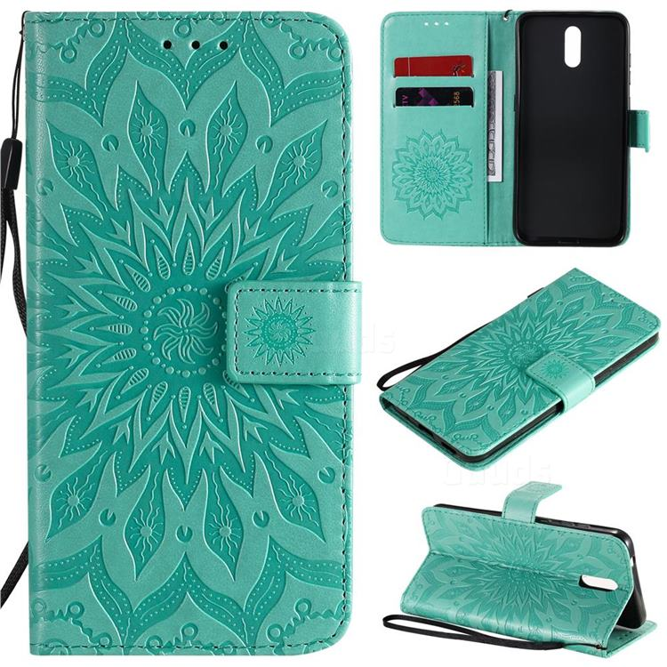 Embossing Sunflower Leather Wallet Case for Nokia 2.3 - Green
