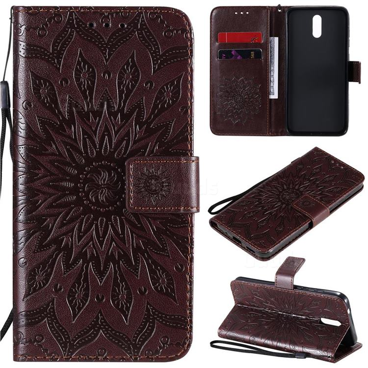 Embossing Sunflower Leather Wallet Case for Nokia 2.3 - Brown