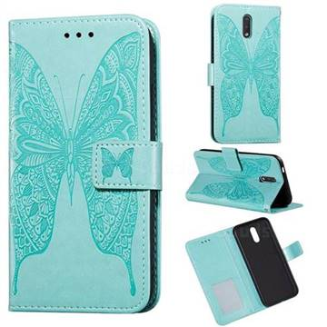 Intricate Embossing Vivid Butterfly Leather Wallet Case for Nokia 2.3 - Green