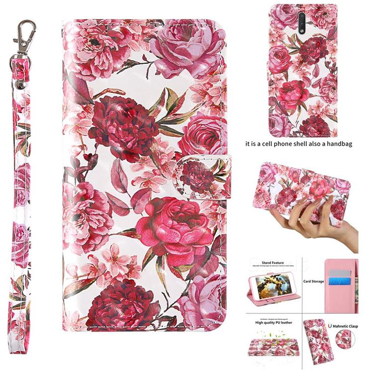 Red Flower 3D Painted Leather Wallet Case for Nokia 2.3