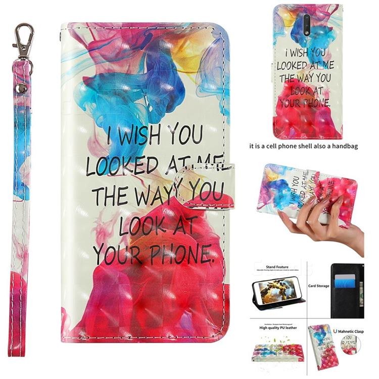 Look at Phone 3D Painted Leather Wallet Case for Nokia 2.3