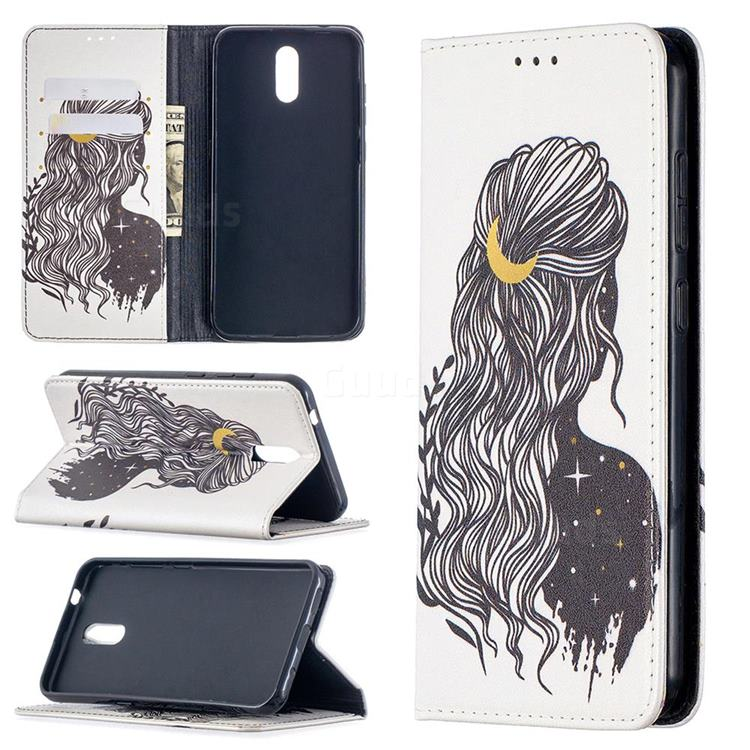 Girl with Long Hair Slim Magnetic Attraction Wallet Flip Cover for Nokia 2.3