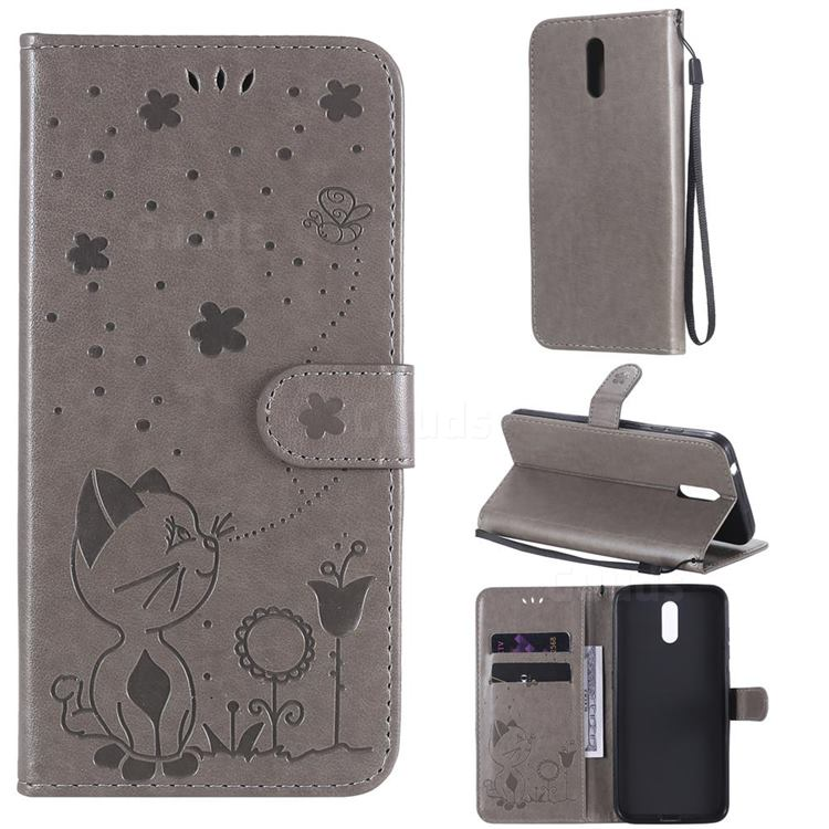 Embossing Bee and Cat Leather Wallet Case for Nokia 2.3 - Gray