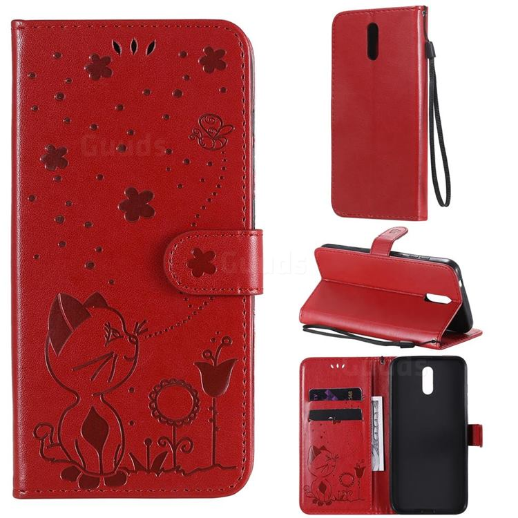 Embossing Bee and Cat Leather Wallet Case for Nokia 2.3 - Red