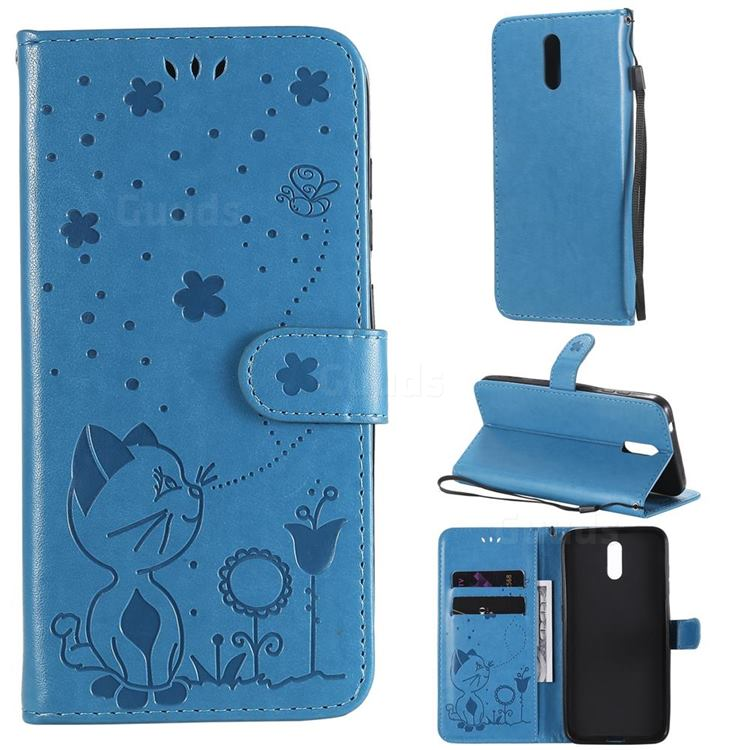 Embossing Bee and Cat Leather Wallet Case for Nokia 2.3 - Blue