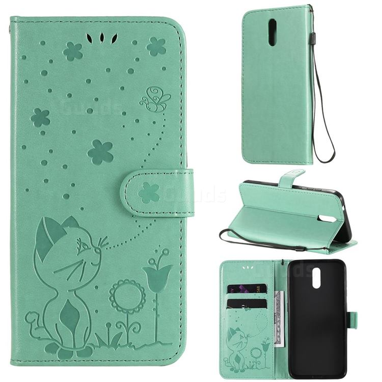 Embossing Bee and Cat Leather Wallet Case for Nokia 2.3 - Green