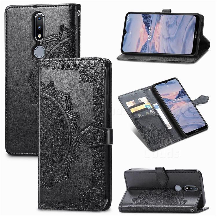 Embossing Imprint Mandala Flower Leather Wallet Case for Nokia 2.4 - Black