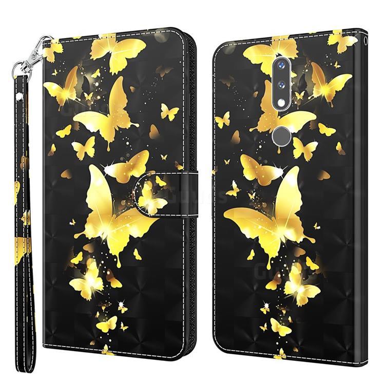 Golden Butterfly 3D Painted Leather Wallet Case for Nokia 2.4