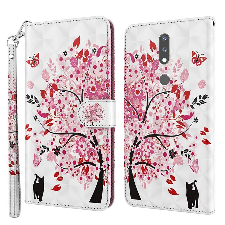 Tree and Cat 3D Painted Leather Wallet Case for Nokia 2.4