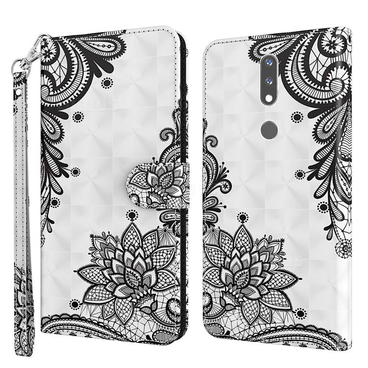 Black Lace Flower 3D Painted Leather Wallet Case for Nokia 2.4