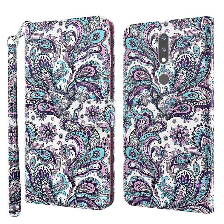 Swirl Flower 3D Painted Leather Wallet Case for Nokia 2.4