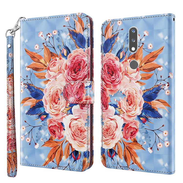 Rose Flower 3D Painted Leather Wallet Case for Nokia 2.4