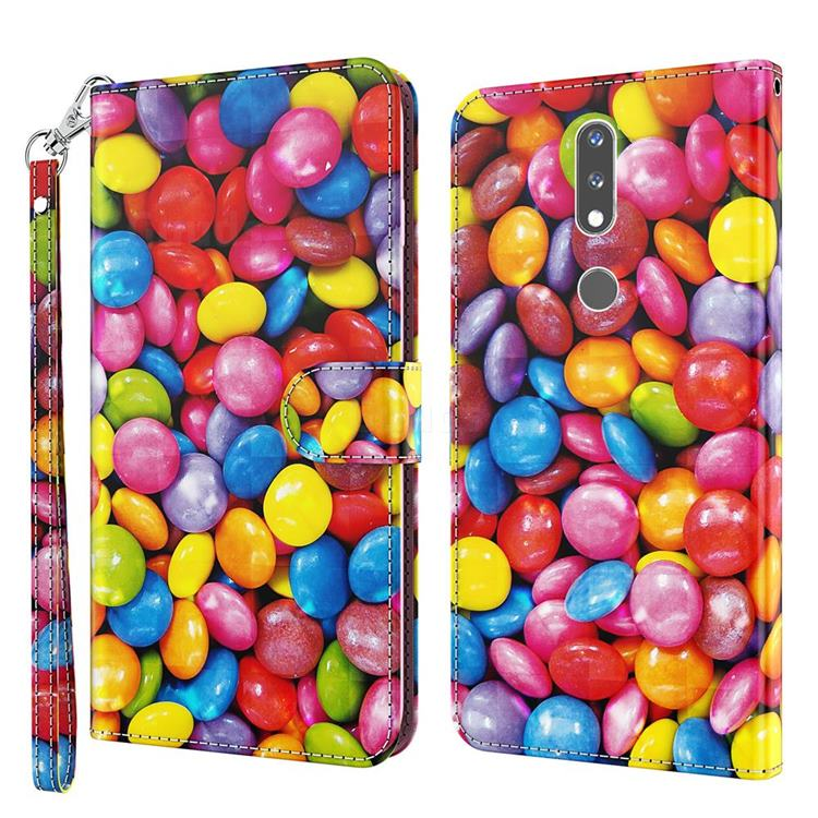 Colorful Jelly Beans 3D Painted Leather Wallet Case for Nokia 2.4