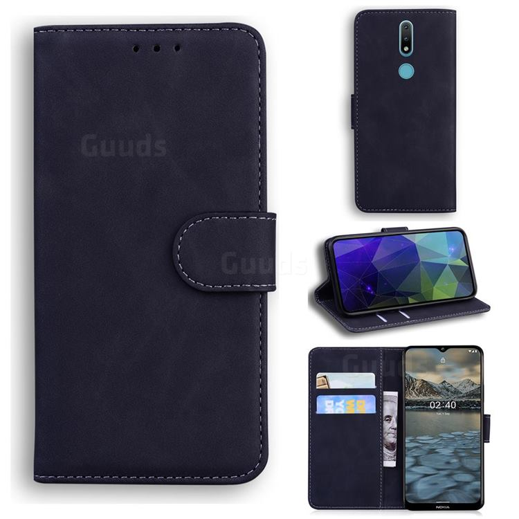 Retro Classic Skin Feel Leather Wallet Phone Case for Nokia 2.4 - Black