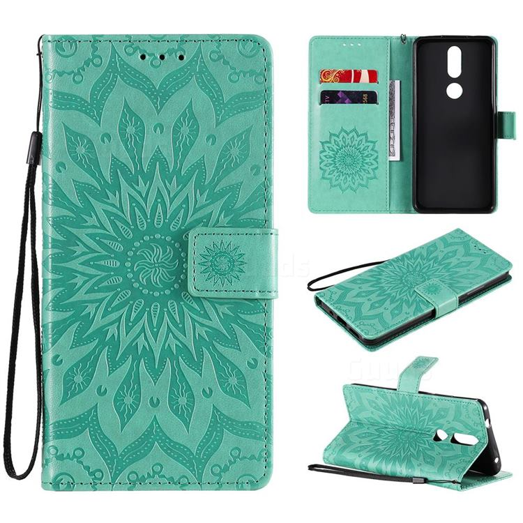 Embossing Sunflower Leather Wallet Case for Nokia 2.4 - Green