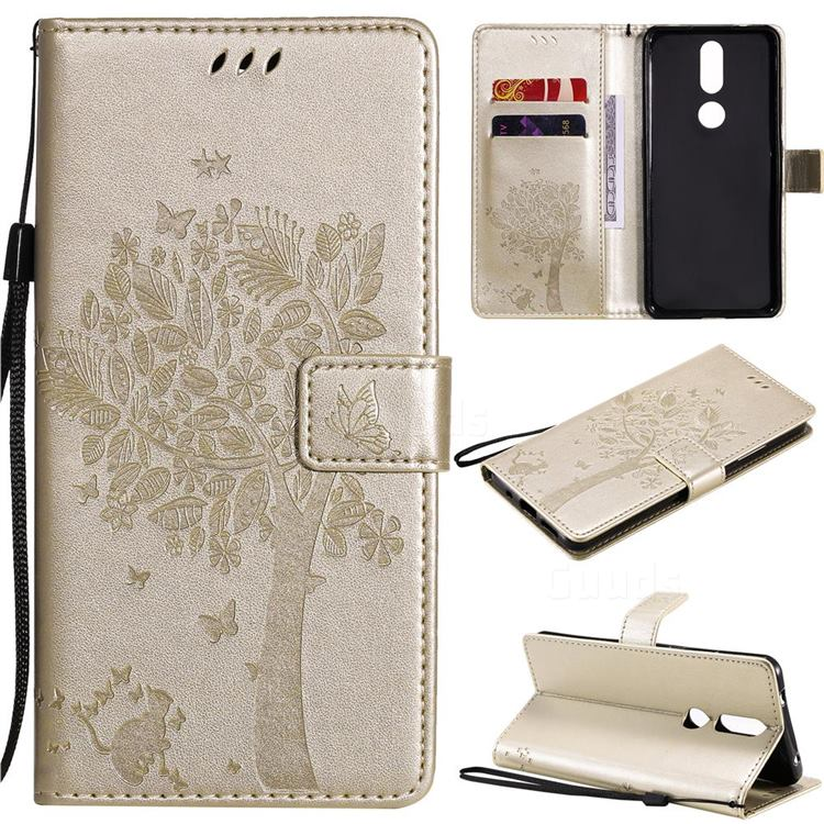 Embossing Butterfly Tree Leather Wallet Case for Nokia 2.4 - Champagne