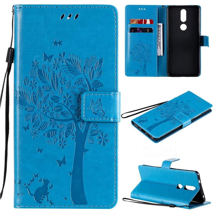 Embossing Butterfly Tree Leather Wallet Case for Nokia 2.4 - Blue