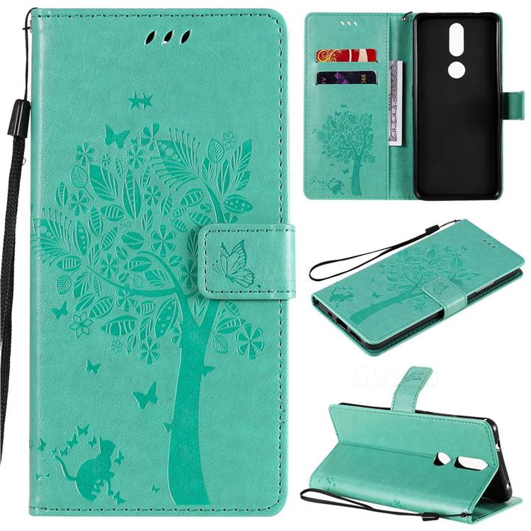 Embossing Butterfly Tree Leather Wallet Case for Nokia 2.4 - Cyan