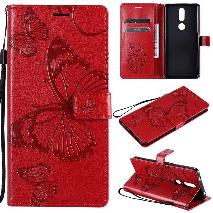 Embossing 3D Butterfly Leather Wallet Case for Nokia 2.4 - Red