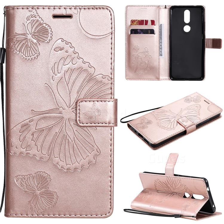 Embossing 3D Butterfly Leather Wallet Case for Nokia 2.4 - Rose Gold