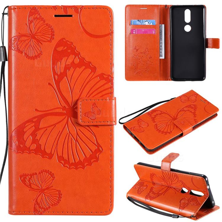 Embossing 3D Butterfly Leather Wallet Case for Nokia 2.4 - Orange