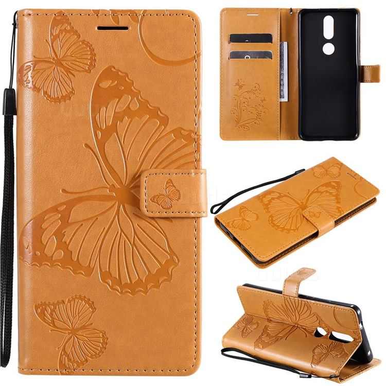 Embossing 3D Butterfly Leather Wallet Case for Nokia 2.4 - Yellow