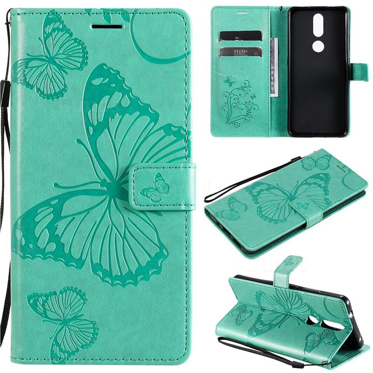 Embossing 3D Butterfly Leather Wallet Case for Nokia 2.4 - Green