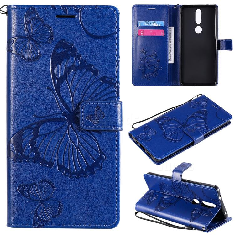 Embossing 3D Butterfly Leather Wallet Case for Nokia 2.4 - Blue