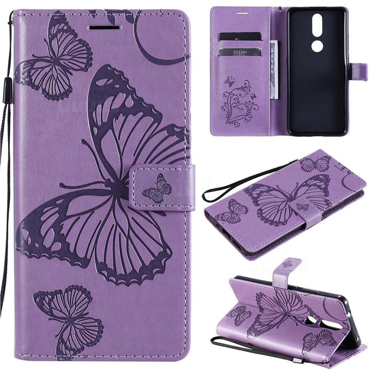 Embossing 3D Butterfly Leather Wallet Case for Nokia 2.4 - Purple