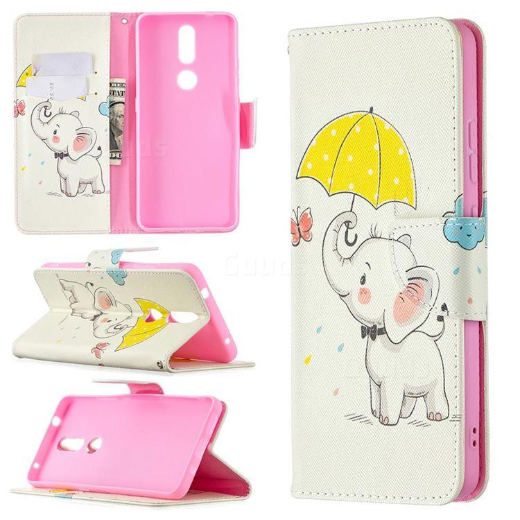 Umbrella Elephant Leather Wallet Case for Nokia 2.4