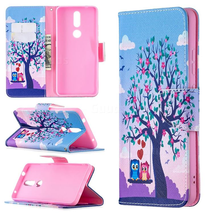Tree and Owls Leather Wallet Case for Nokia 2.4