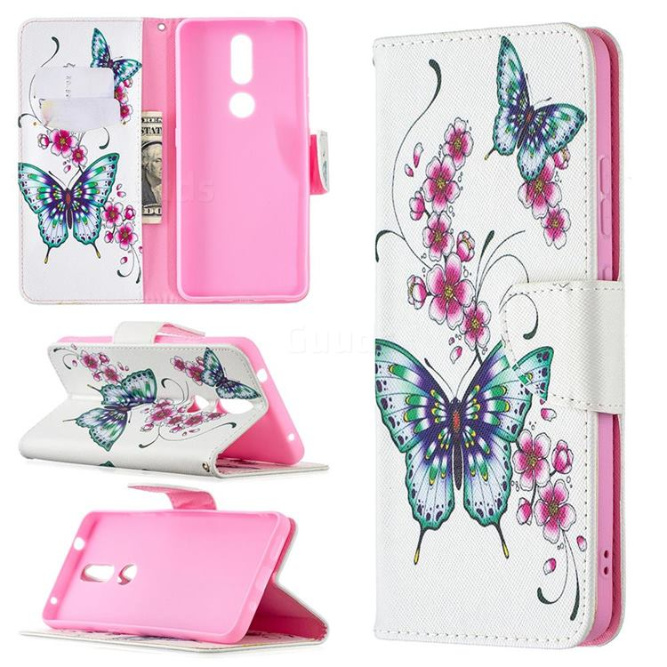 Peach Butterflies Leather Wallet Case for Nokia 2.4