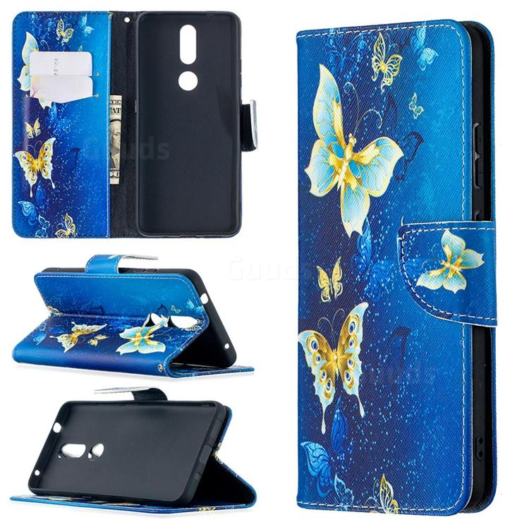 Golden Butterflies Leather Wallet Case for Nokia 2.4